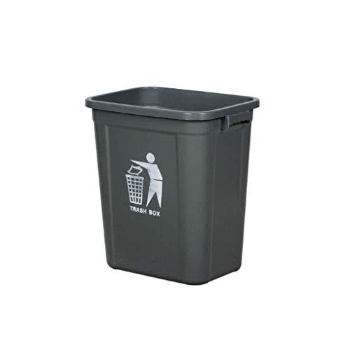LIN-rlp 15~60L Papelera Can Descubierta, plástico multifunción Bote de Basura del hogar Sala Baño Bote de Basura (Color : Black, Size : 20L)