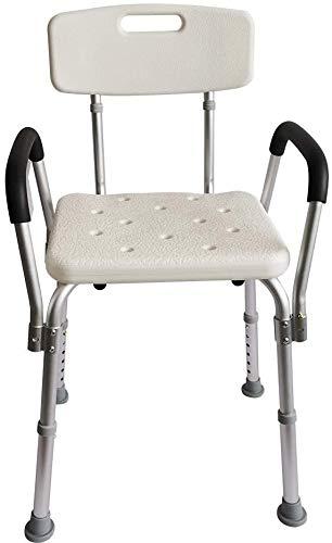 シャワーチェア シャワーチェアーコンパクト 風呂 椅子 介護用 6段階高さ調節 背もたれ付き アルミ合金フレーム 軽量 丈夫 シャワー用 介護ダイニングチェア 手すり 日本語説明書付き