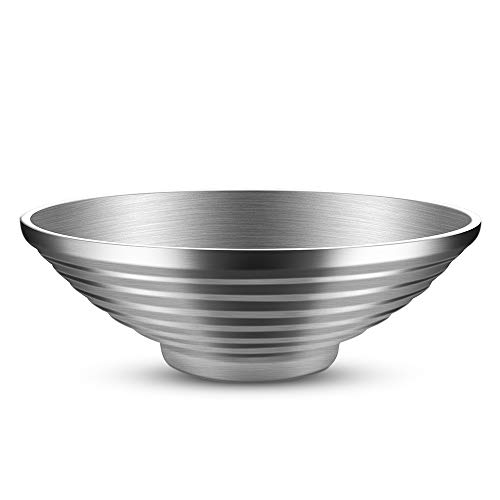 Salad Bowl, Double Wall 10 Inch 47 OZ Stainless Steel Multipurpose Serving Bowl for Soup, Cooked Food, Fruit, Noodle, Cereal (47 OZ (1400ml))