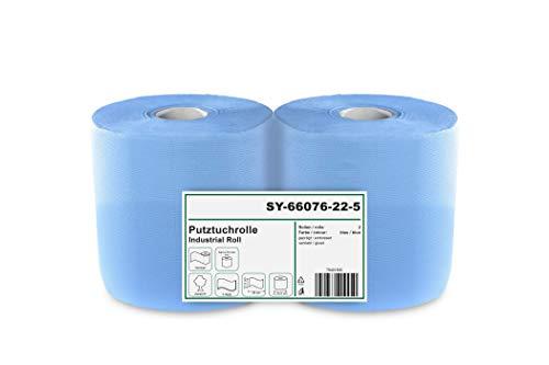 2 x blaue saugstarke Papierrolle, 1000 Blatt, 22x36 cm | 2-lagige perforierte Papiertücher | Putztuchrolle für Industrie, Werkstatt und Restaurant | Durchmesser 25 cm