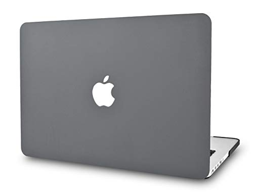 KECC Laptop Case for Old MacBook Pro 13' Retina (-2015) Italian Leather Hard Shell Cover A1502 / A1425 (Grey Leather)