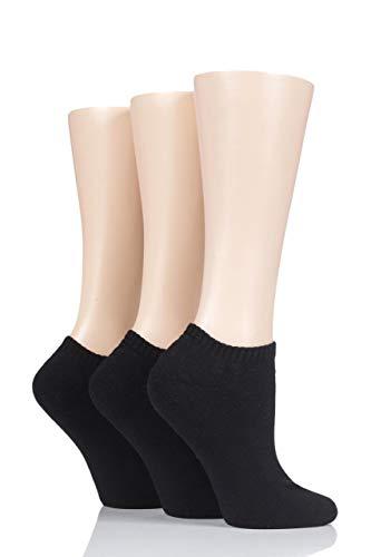 Glenmuir Damen Kissen Bambus Trainer Socken Packung mit 3 Schwarz 37-42