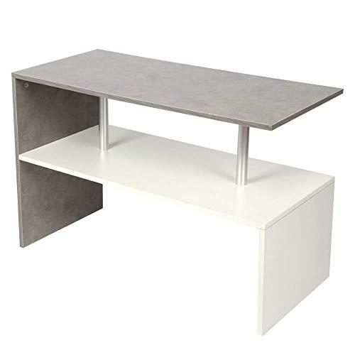 AYNEFY Tavolino da salotto con 2 livelli e grande superficie di appoggio, rettangolare, in legno, per soggiorno, camera da letto, 90 x 42 x 60 cm, colore: bianco e grigio