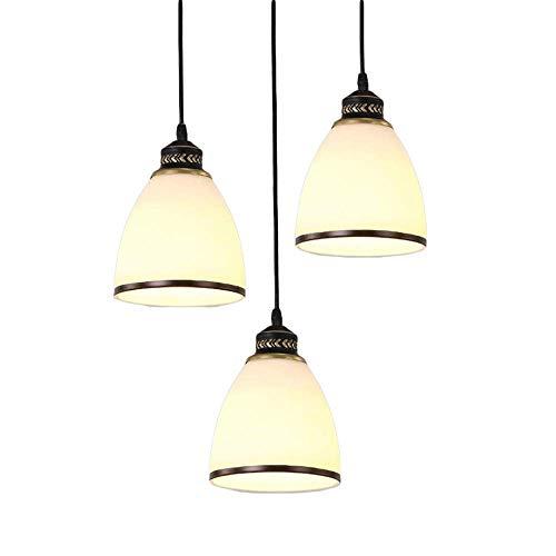 JINHUADAI retrò lampadario Europea Tre Circolare Lungo Vetro/soffitto Composizione Frangia lampadario Paese American Restaurant Placcato Linea Decorativa E27 lampadario (Color : B)