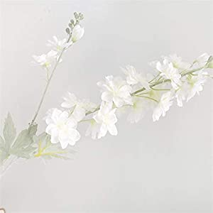 Fake Flower Beautiful Delphinium Flower Branch Flores Silk Artificial Flowers for Home Wedding Decoration Artificial Roses Flower (Color : White)