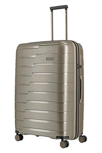 travelite 4-Rad Koffer L mit TSA Schloss, Gepäck Serie AIR BASE: Funktionaler Hartschalen Trolley im coolen Look, 075349-40, 77 cm, 105 Liter, champagner (beige)