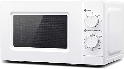 Microondas Independiente, Horno Microondas de 700 W 20 L / 5 Niveles de Potencia de Cocción, Horno Microondas Mecánico Control Uniforme de Temperatura/Fácil de Limpiar Blanco