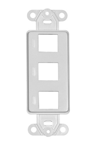 Offex OF-302-3D-W Decora Wall Plate Insert, 3 Hole for Keystone Jack, White