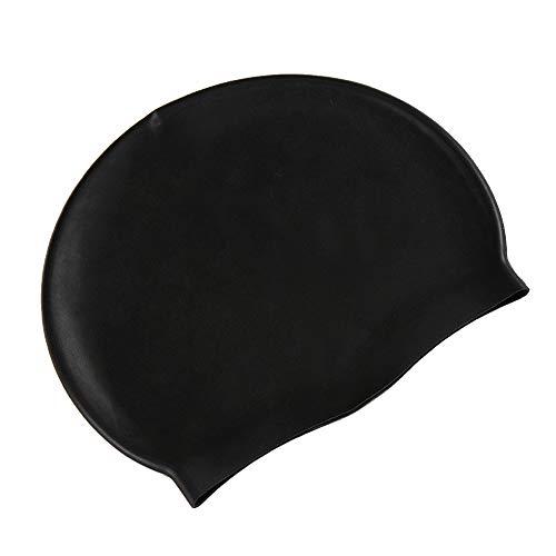 サントレード シリコン水泳帽 スイミングキャップ 防水 男女兼用 長い髪 (ブラック)