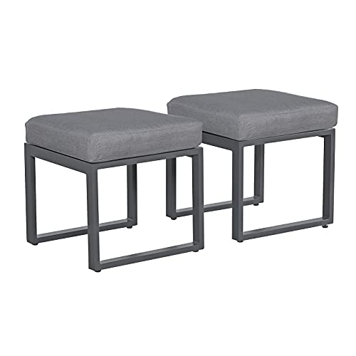 Soleil Jardin Outdoor Ottoman Set of 2, Aluminum Rest Foot Stool with Grey Cushions, Vanity Stool Stool, Chair for Patio, Living Room, Bedroom, Dark-Grey Frame
