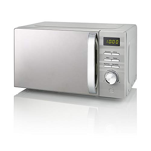 Swan 700W Grey Symphony Digital Microwave, 20L Capacity, 5 Microwave Power Levels, Defrost and Reheat Settings, 60 Minute Timer and Digital Display, SM22038GRN