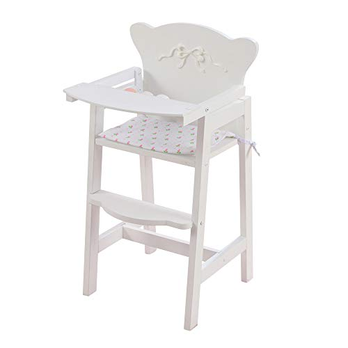 KidKraft Tiffany Bow Scalloped-Edge Wooden Lil Doll High Chair with Seat Pad - White, Gift for Ages 3+