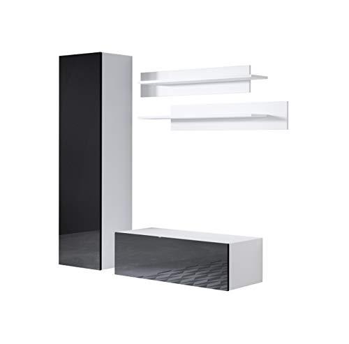Conjunto de Muebles Luke 1C Blanco y Negro (1,6m)