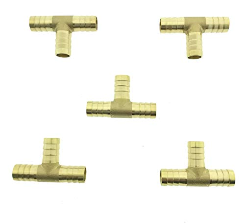 5x Stück Messing T-Stück Druckluft Schlauchverbinder Schlauch T Fitting 6mm 8mm 10mm 12mm (10mm)