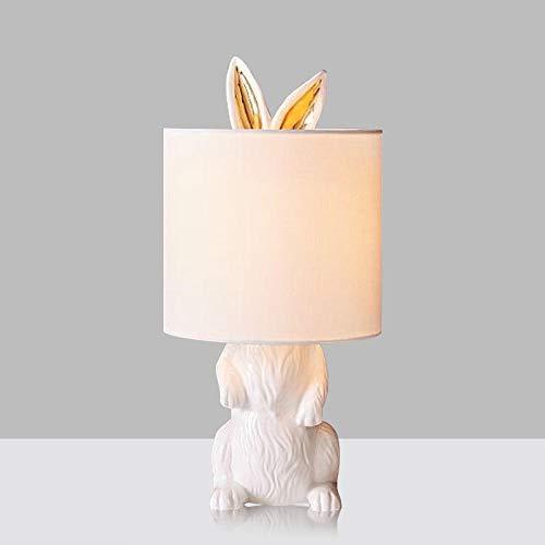 Lampada da tavolo coniglio lampada da tavolo moderna in resina lampada da tavolo creativa Edison E27 in lino artistico lampada da tavolo ombra rotonda lampada da tavolo decorazione ufficio casa