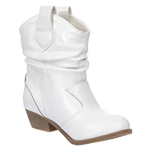 Charles Albert Girl's Modern Western Cowboy Distressed Boot with Pull-Up Tabs in White Size: 2 Little Kids