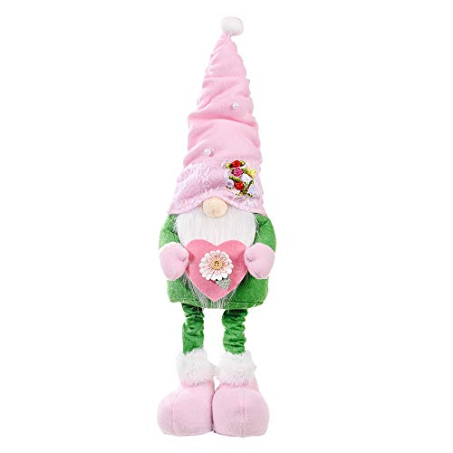 luck-peng Mother's Day Gnomes Plush Elf Decorations, Handmade Stuffed Gnome Spring Flower Faceless Gnome Plush Doll Room Desktop Decoration Ornaments Home Decor (B, Green)