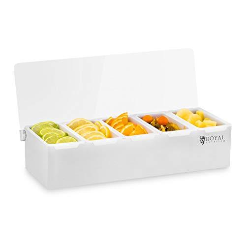 Royal Catering Caja Para Condimentos Condimento Dispensador RCCBP 5 (Acero inoxidable, 5 envases, Capacidad por envase: 450 ml, Cubierta de Polipropileno, 38 x 15 x 8,8 cm)