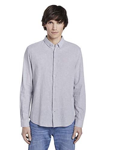 TOM TAILOR Herren Ray Linen Cotton Hemd, Blau (11869-Sky Blue Chambray), XXXL