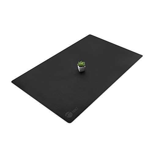 SIIG Artificial Leather Smooth Desk Mat Blotter Protecter - 36' x 22' Desk Pad with Non-Slip Water Repellent Protection for Office and Home - Black