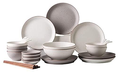 . Cuenco de combinación de hogar y Conjunto de Placas, combinación de vajillas de cerámica Simple y de Moda LingGe