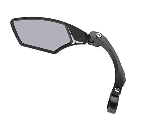 MIRAGE E-Bike und Fahrrad Rückspiegel mit leicht getöntem Glas, verstellbar Spiegel Mit Klammer, Drehbares, Lichtverdunkelndes, Schwarz, S