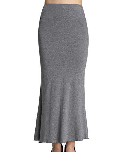 Rock Maxi Kleid Skirt grau Damen Stretch dehnbar Kleider lang Mädchen Maxirock Frauen DE 32 =Etikett S