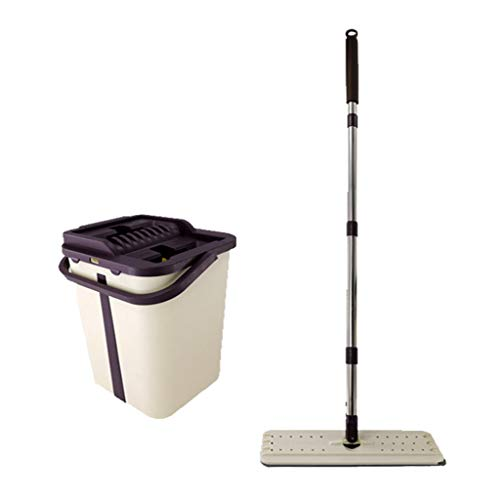 Freie Handwäsche Flachmophalter Eimer reinigen Set freihändig Squeeze 2 in 1 Wash Dry mit Wiederverwendbare Flachmophalter Pads Reinigungshartholz Laminat Fliesen Steinboden
