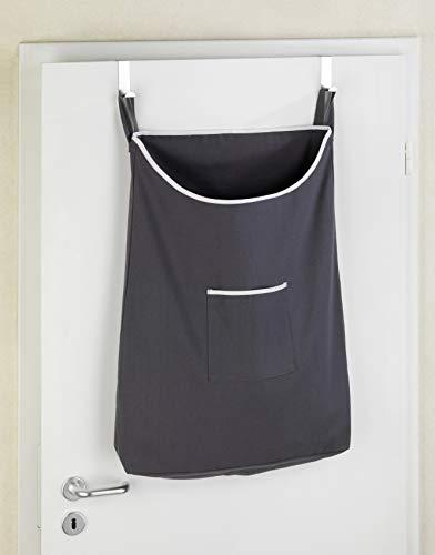 Wenko Canguro 62105100 - Bolsa de algodón para la Colada, para Colgar en la Puerta (40x 30x 4,5 cm), algodón, Gris, 40.0x30.0x4.5 cm