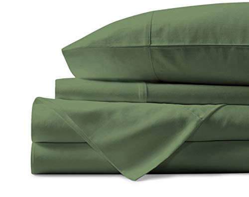 500 Thread Count 100% Cotton Sheet Sage Green King Sheets Set, 4-Piece Long-staple Combed Pure Cotton Best Sheets For Bed, Breathable, Soft & Silky Sateen Weave Fits Mattress Upto 18'' Deep Pocket