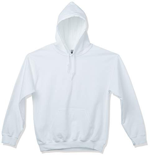 Gildan Men's Fleece Hooded Sweatshirt, Style G18500, White, Large