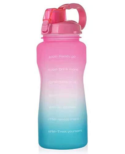 Botella De Agua Motivacional PortáTil De 2l / 3.8l - con Cepillo De Paja & Cepillo De Copa & Tiempo Marcado, Libre De Bpa, A Prueba De Fugas para El Gimnasio Deportivo Fitness. 2000ML Pinktogreen