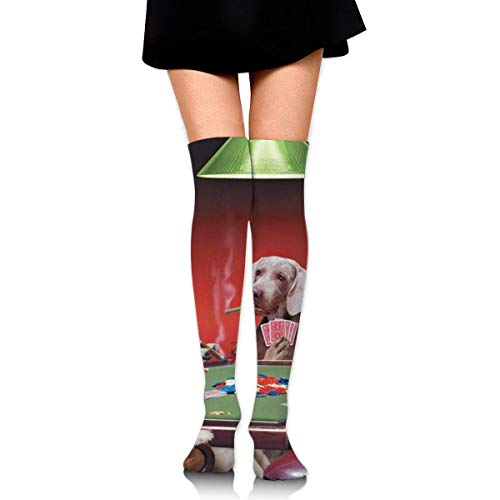 Grappige hond spelen poker katoen compressie sokken voor vrouwen afgestudeerde kousen voor verpleegkundigen, moederschap, reizen, vluchten, spataderen, hardlopen & fitness, kalf ondersteuning