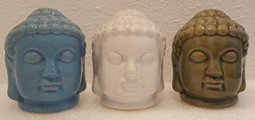 Greenbrier International Buddhist Figurines Siddartha Gautama Buddha Ceramic Figurines Set of 3 White Green and Blue