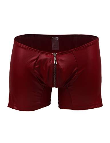 lau-fashion Zipper Wetlook Boxer Shorts Herren Slip Männer Hose Unterwäsche M/L Farbe rot