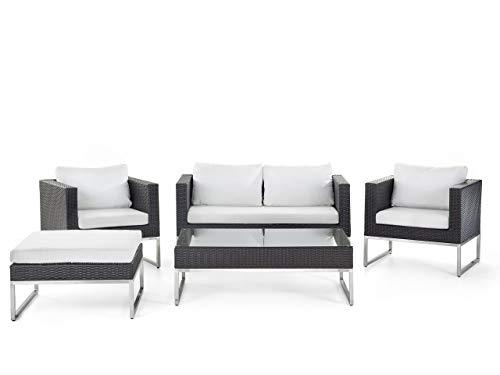 Beliani Modernes Gartenmöbelset Sofa 2 Sessel Ottomane Couchtisch braun/weiß Crema