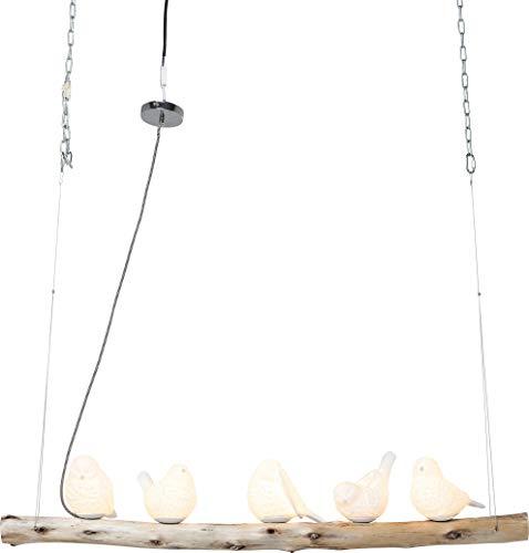 KARE Design Lámpara Colgante Comedor Ucelli, Estilo Moderno con 5 Pájaros de Altura Ajustable, Grande, 120 x 15 cm, Blanco