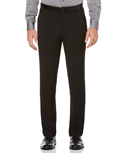 Perry Ellis Men's Slim Fit Flat Front Pant, Black, 38x30