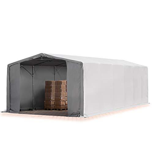 TOOLPORT Zelthalle Lagerzelt 8x12m / 4m Seitenhöhe Industriezelt ca.feuersichere Plane ca. 720 g/m² PVC wasserdicht in grau