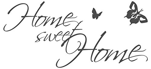 dekodino® Wandtattoo Spruch Familie Home sweet Home Schmetterlinge Deko