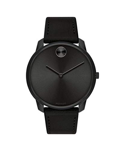 Movado Men's Bold Thin Stainless Steel Swiss Quartz Watch with Leather Strap, Black, 21 (Model: 3600587)
