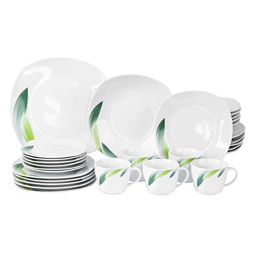 Van Well | 30-TLG. Kombi-Geschirr Siena für 6 Personen | Tafel-Service + Kaffee-Set | festliches Blatt-Dekor grün | edles Hotel-Porzellan | Gastro