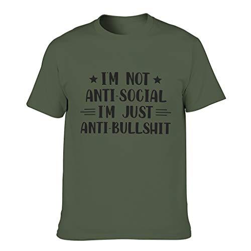 Camiseta de manga larga para hombre, diseo con texto en alemn 'Bin ich nicht antisocial' verde militar XXXXL