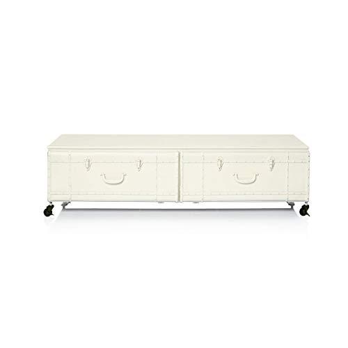 Pureday Lowboard auf Rollen - Industrial Loft Style - Metall - Antik-Weiß
