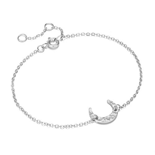 General supplies Simple Half Moon Bracelet Edelstahl Niedliches Bettelarmband-silbernes Horn_18 cm