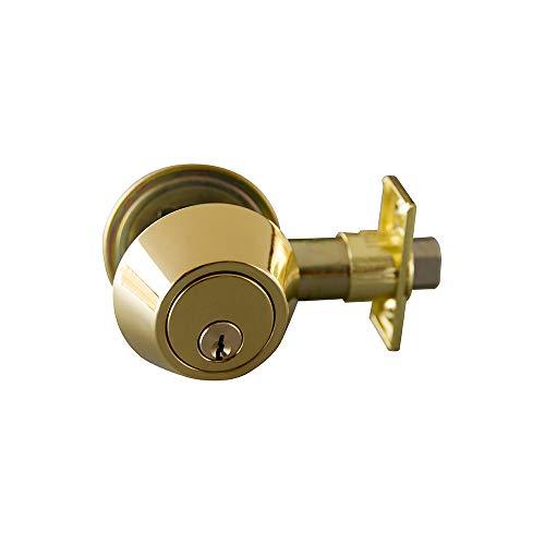 Design House 727487 Double Cylinder Deadbolt, Polished Brass, Satin Nickel