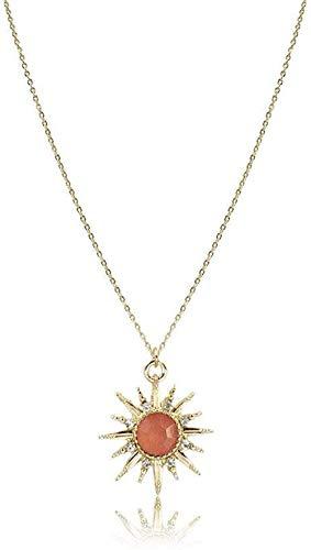 huangshuhua Collares Pendientes de Piedra para Mujer Collares Pendientes de Cristal de ágata roja Adornos de Cadena de Oro de Piedra Natural de Sol