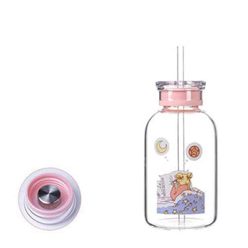 zyl Tasse en Verre Mignonne créative pour Bouteilles Cartoon Anime bébé Fille Bouteille d'eau Portable avec Couvercle de Paille Tasses de Sourire