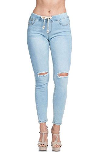 American Bazi Women's Knee Slit Skinny Denim Joggers RJJ834 - Light Blue - Small - CC6G