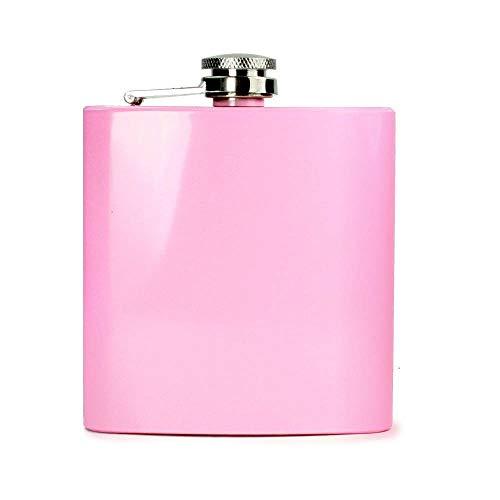 MCK-Handel Flachmann Taschenflachmann Taschenflasche - Flachmann aus Edelstahl PINK glänzend lackiert - Hip Flask 6oz Für Alkohol Whisky/Vodka/Gin - Rosa
